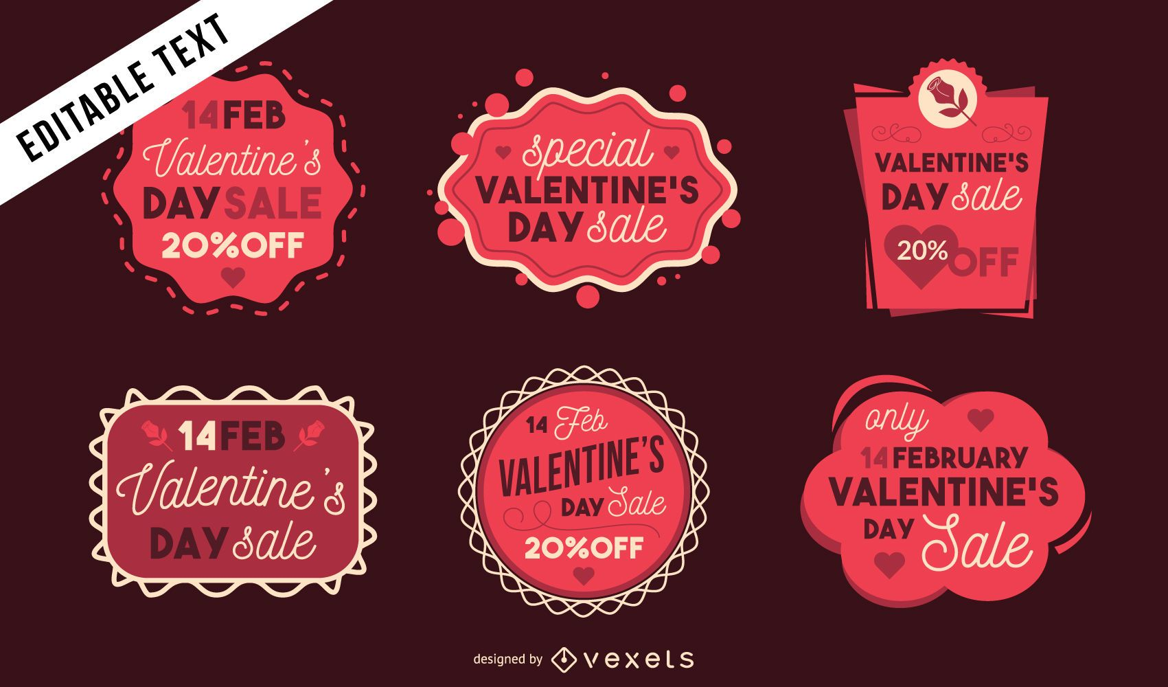 Valentine's Day sale stickers set