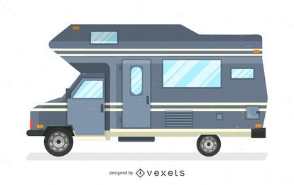 Ilustración plana autocaravana gris
