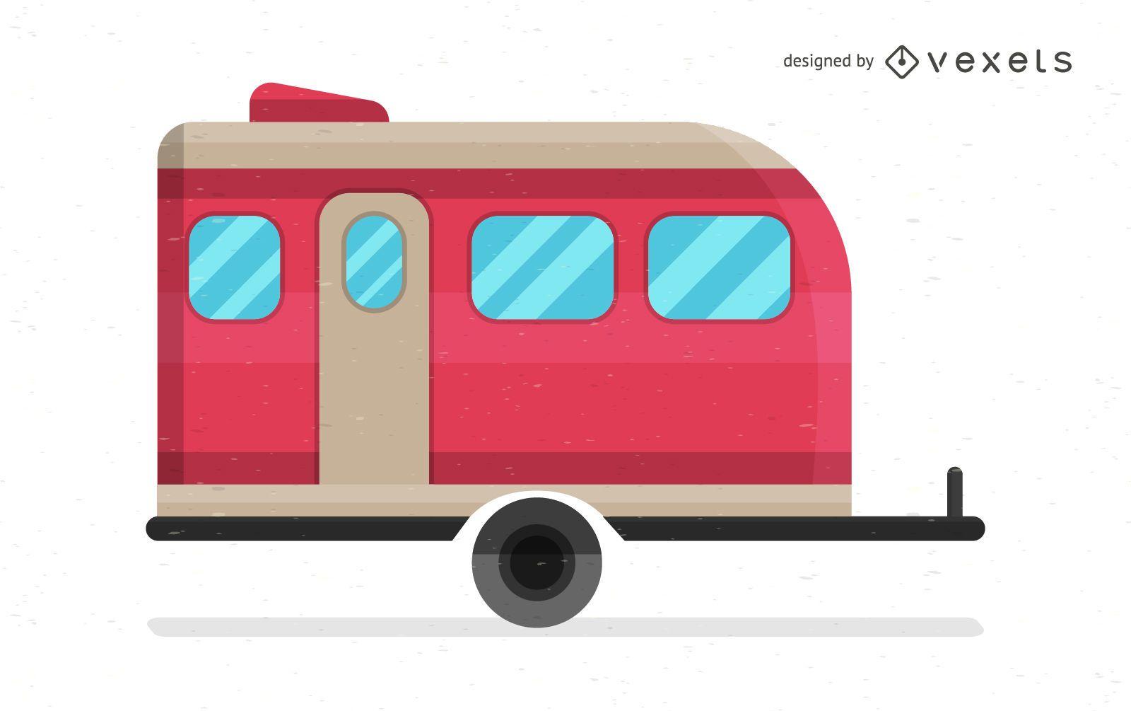 Ilustração de caravana de desenho animado