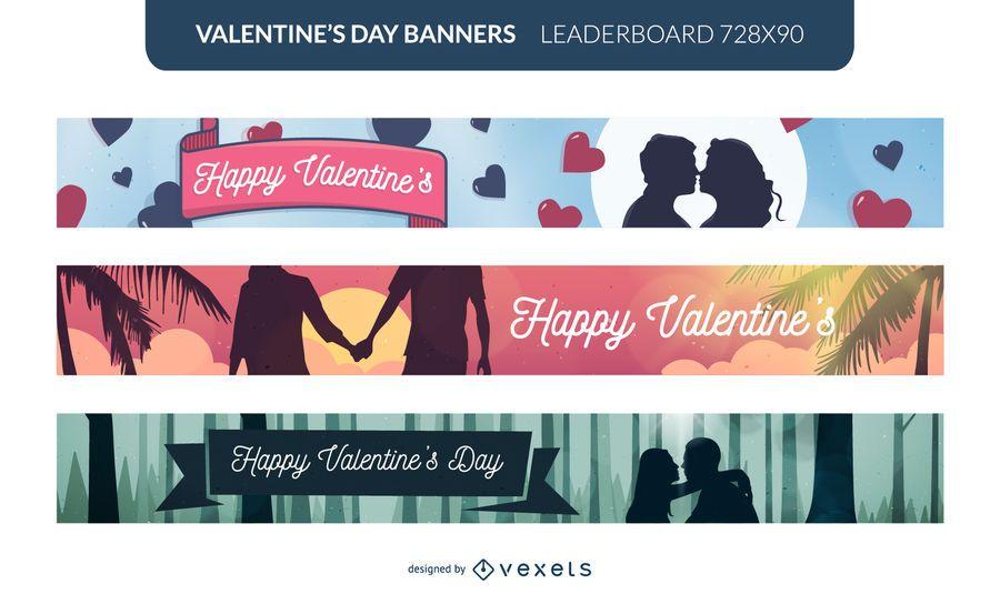 Conjunto de ilustração de banner feliz dia dos namorados