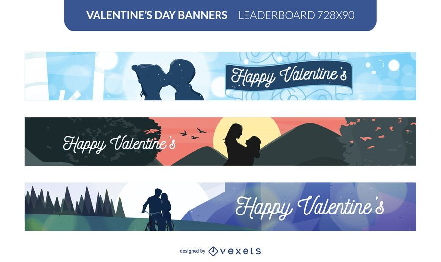 Valentinstag Paare Banner gesetzt