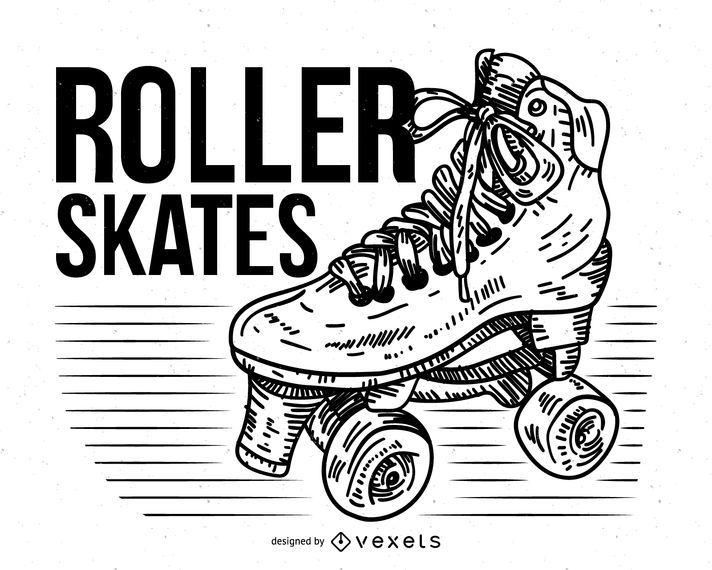 Skates de 4 rodas de mão desenhada