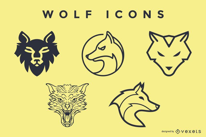 Conjunto de iconos de lobo
