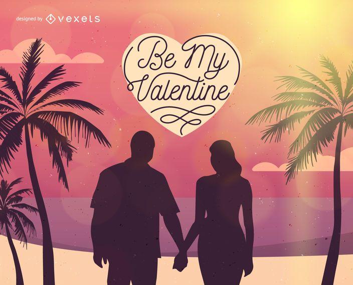 Ilustración de pareja de San Valentín