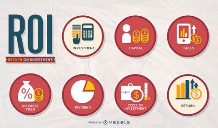 Conjunto de iconos de ROI de negocios
