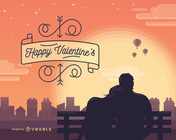 Ilustração romantica dos namorados de São Valentim