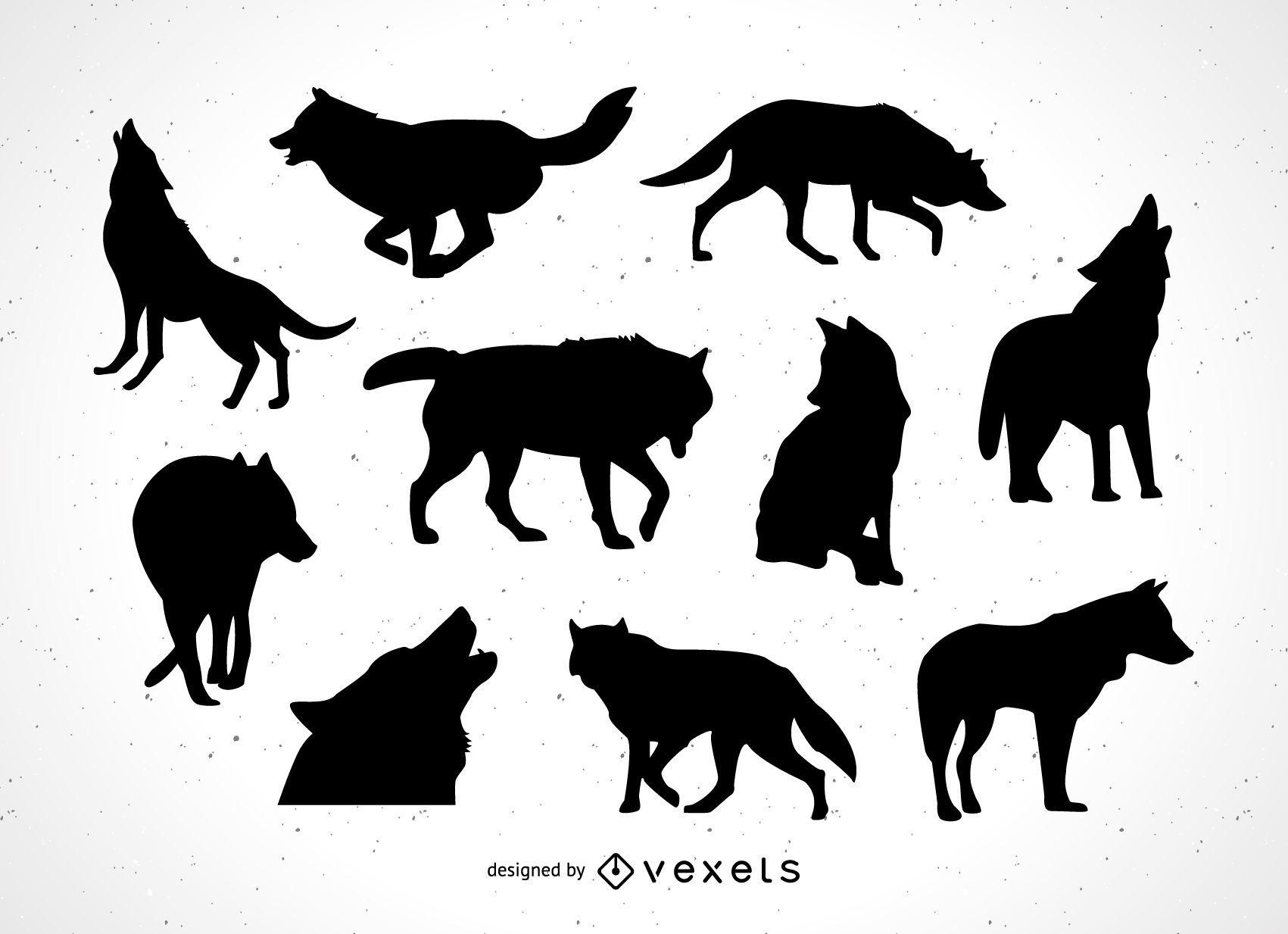 coleção de silhueta lobo baixar vector
