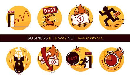 Business runway illustration set
