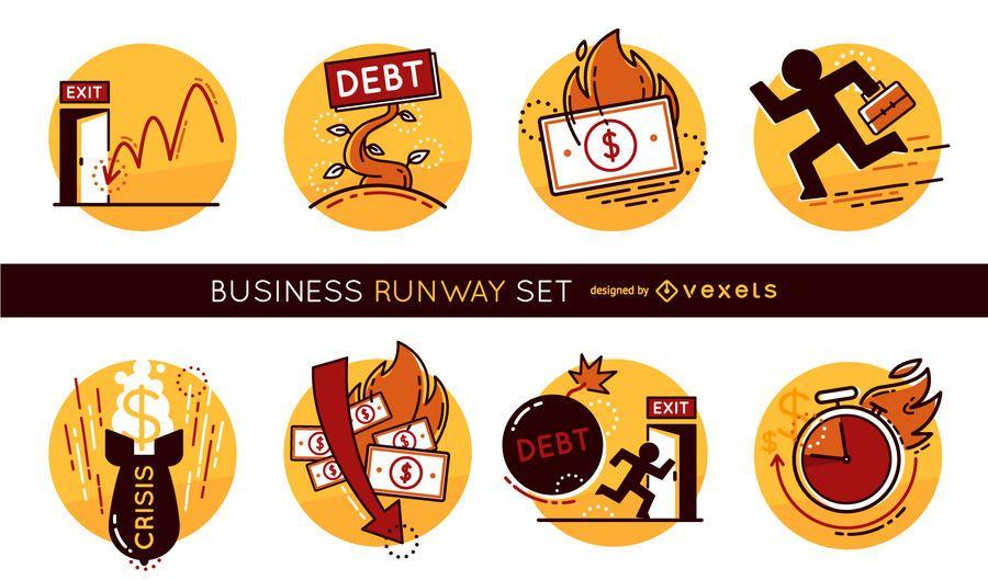 Conjunto de ilustração de corrida de negócios