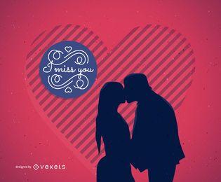 Cartão ilustrado do dia dos namorados