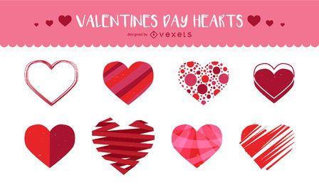 Conjunto de corazones ilustrados