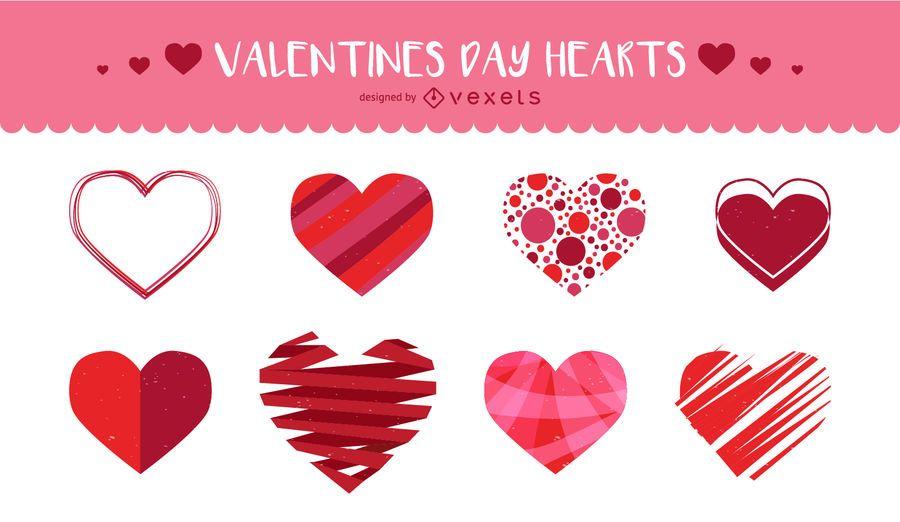 Conjunto de corações ilustrados