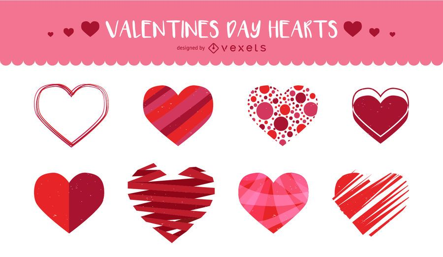Set of illustrated hearts