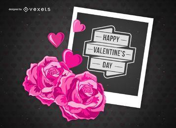 Tarjeta polaroid de San Valentín feliz