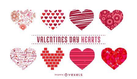 Coleção de ilustrações de coração