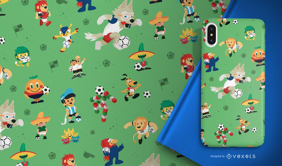 Football World Cup mascots pattern