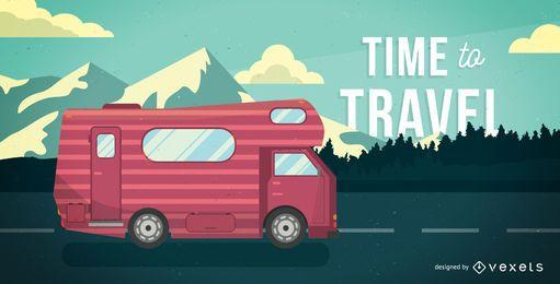 Ilustração do motorhome do tempo de viagem