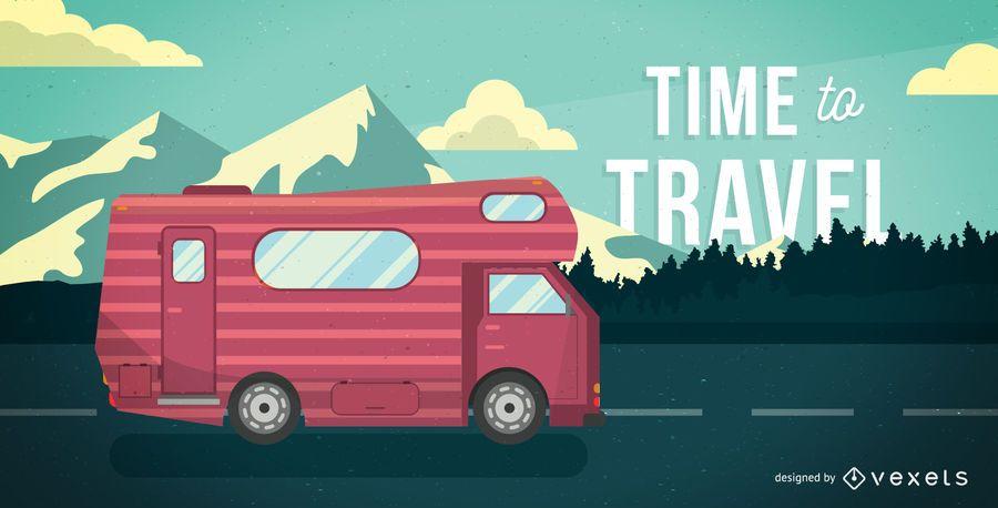 Viagem, tempo, motorhome, ilustração