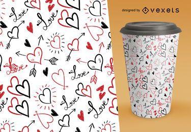Patrón de San Valentín con corazones dibujados a mano