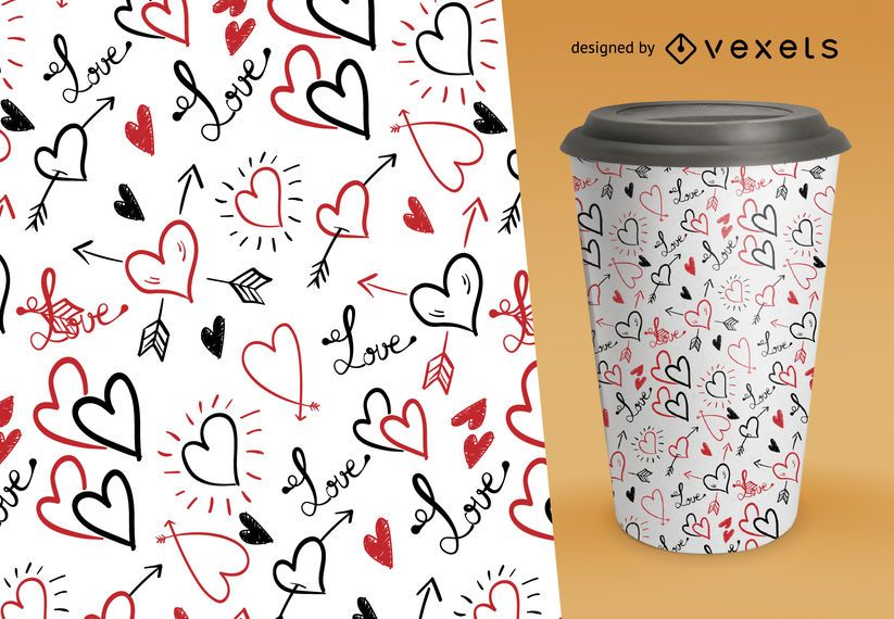 Valentine's pattern with hand drawn hearts