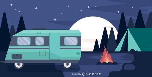 Camping con ilustración de autocaravana.