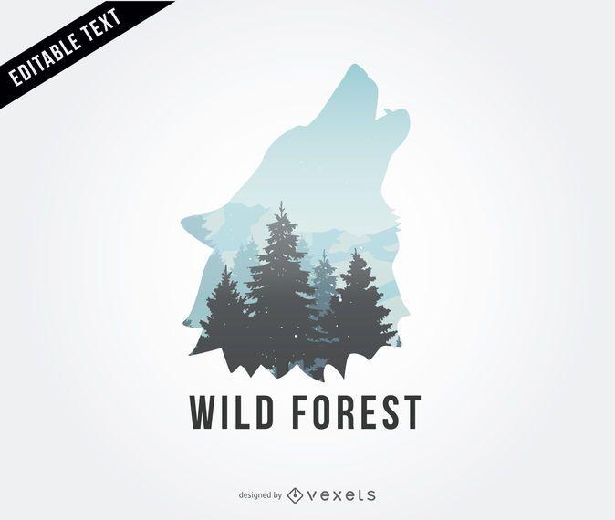 Ilustración de logo de lobo salvaje