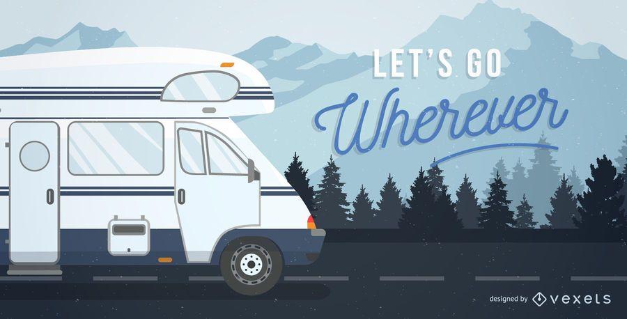 Ilustración de postal de autocaravana