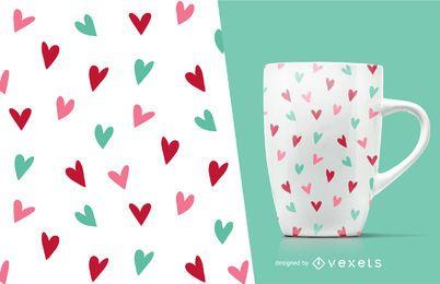 Patrón de corazón garabateado de San Valentín