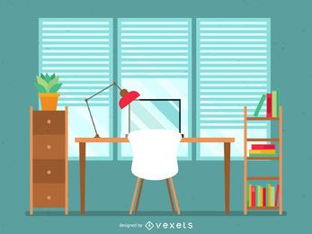 Ilustração de mesa de escritório plana em verde e marrom