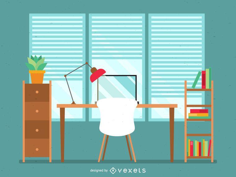 Ilustración de escritorio de oficina plana en verde y marrón