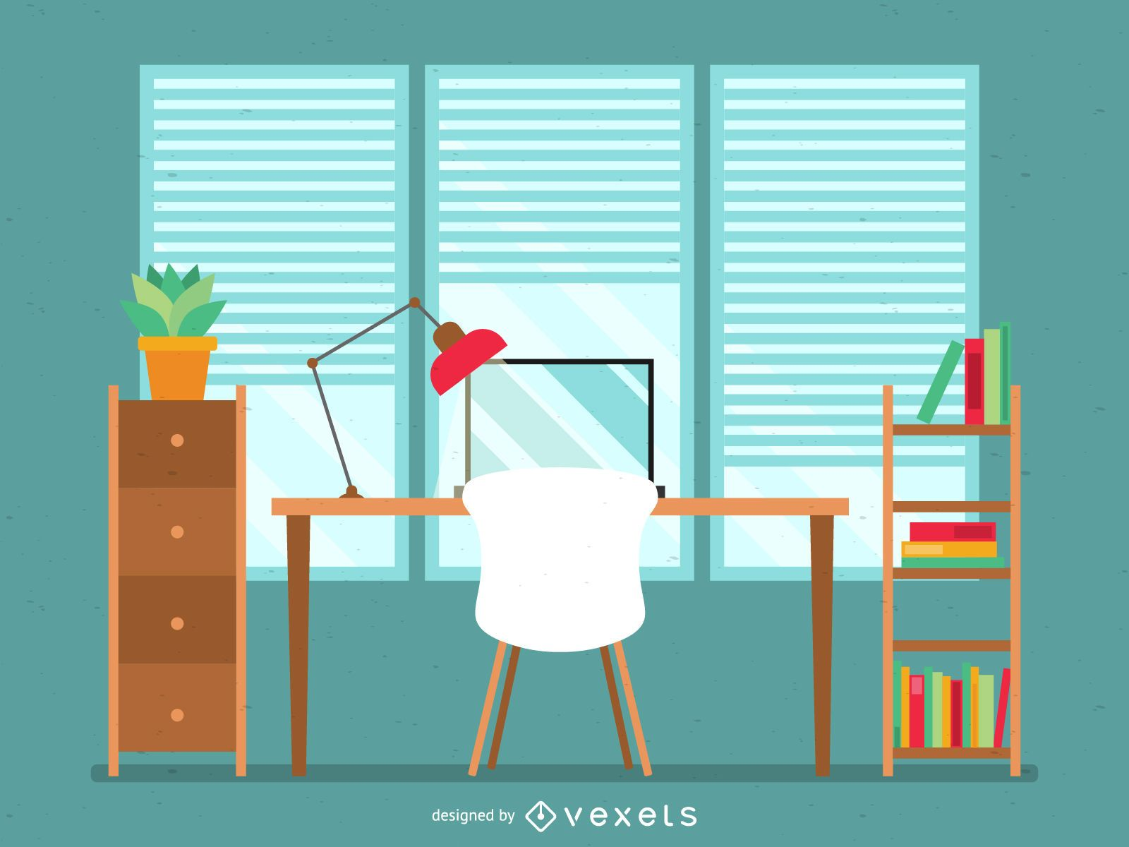 Flat office desk illustration in green and brown