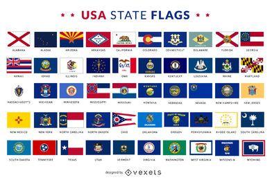 Coleção de bandeiras do estado dos EUA
