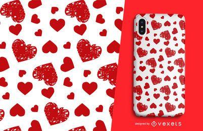 Das gestempelte Herzmuster des Valentinsgrußes