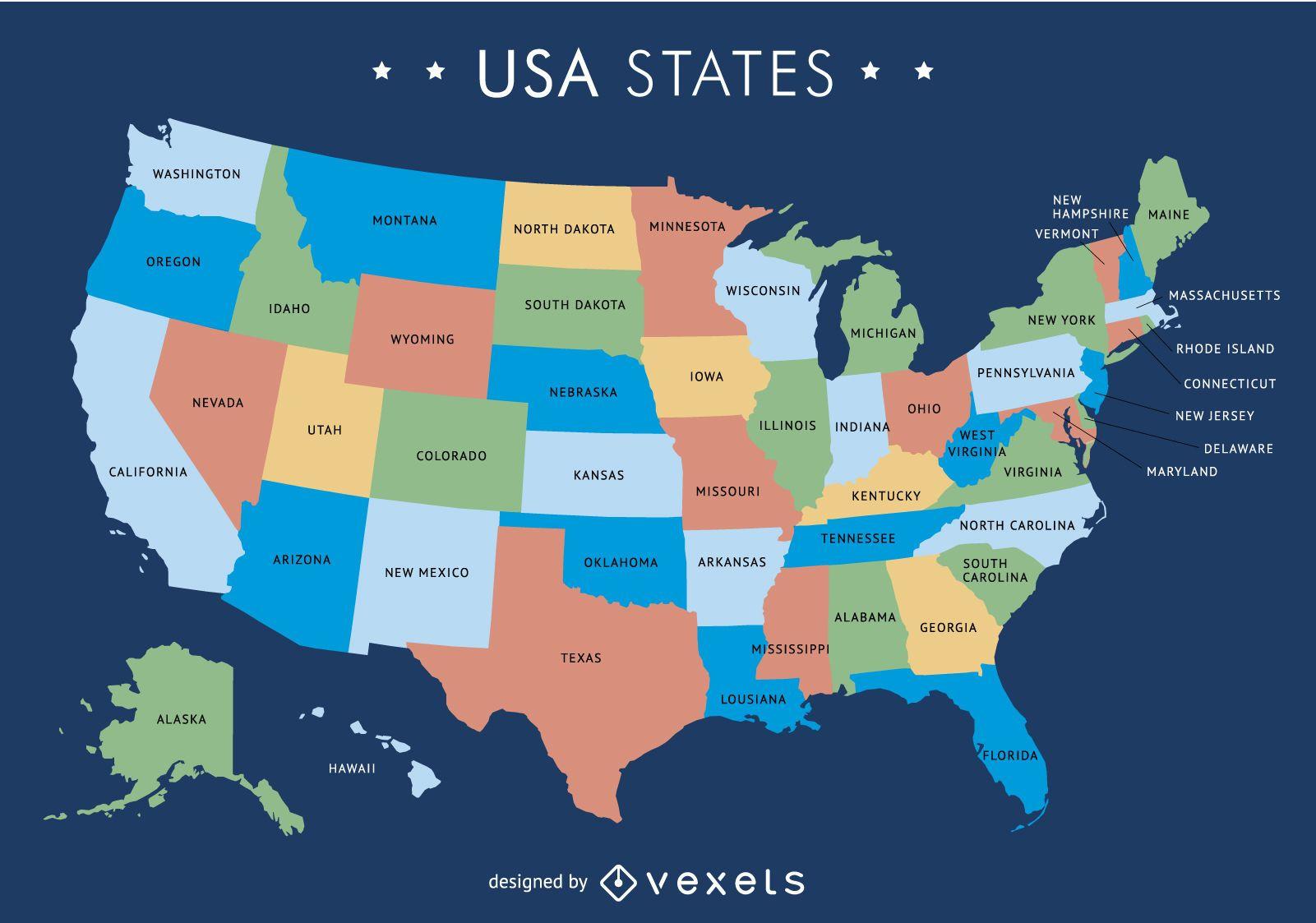 Amerika Karte Staaten.Usa Karte Mit Staaten Vektor Download