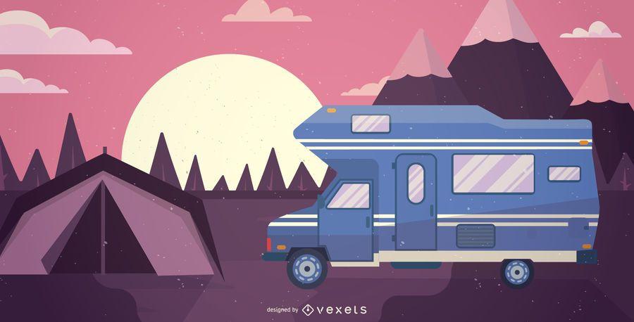 RV ilustración autocaravana
