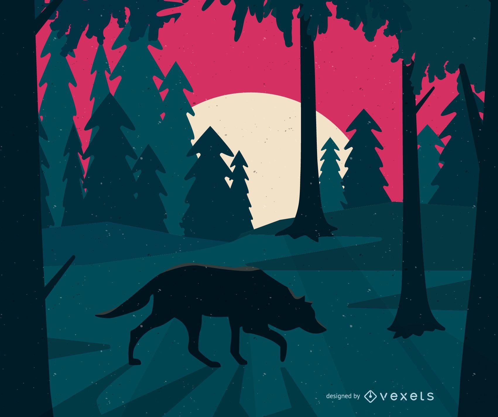 Lobo en la ilustración del bosque