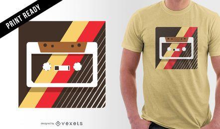 Design de t-shirt de ilustração de cassete