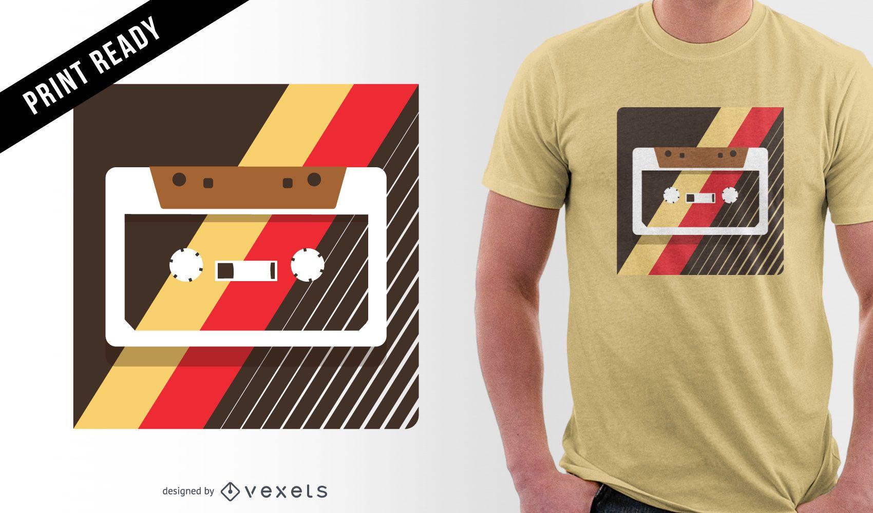 Desenho de t-shirt com ilustração de cassete