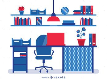 Ilustración de escritorio de oficina plana roja y azul