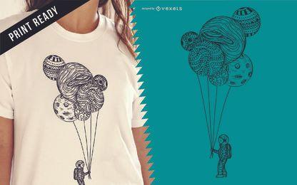 Diseño de camiseta de ilustración de astronauta
