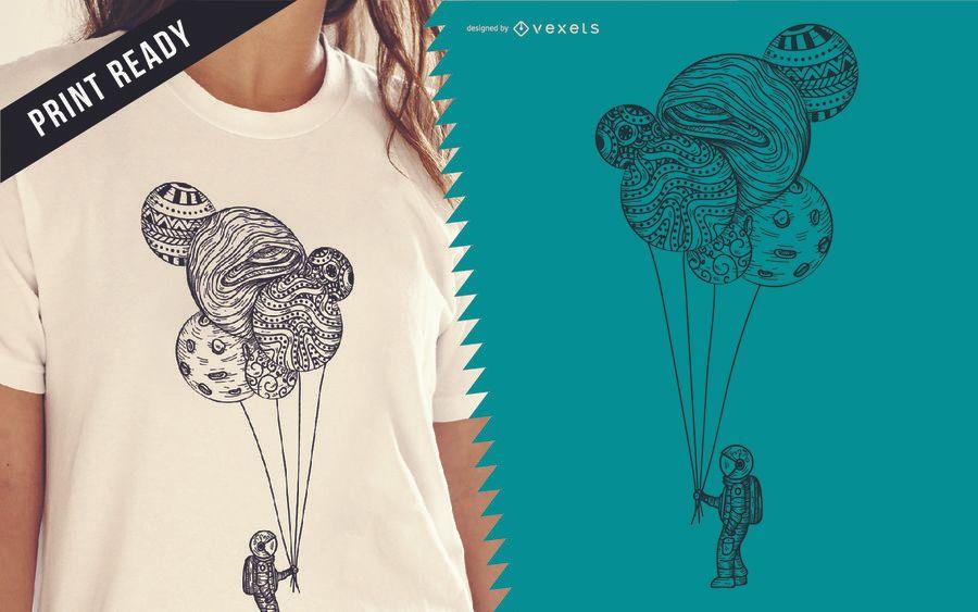 Design de t-shirt de ilustração de astronauta