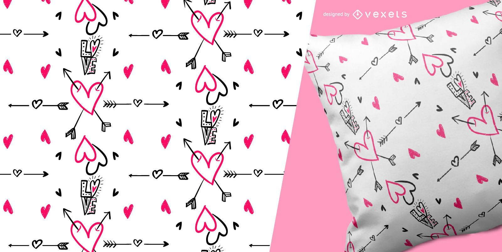 Seamless love and hearts pattern