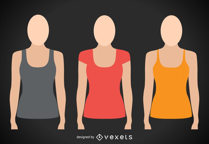 Female Tshirt And Tank Top Templates Vector Download