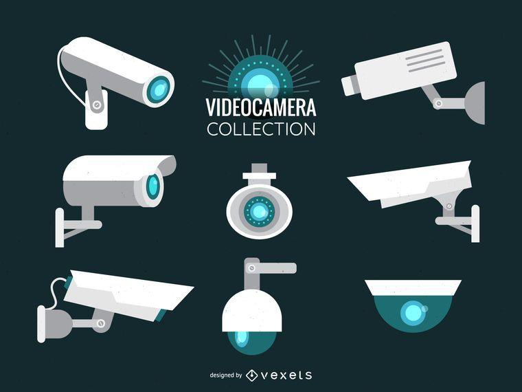 Conjunto de ilustração de câmera de vídeo