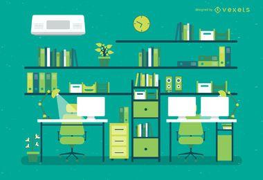 Ilustração plana do escritório com mesas