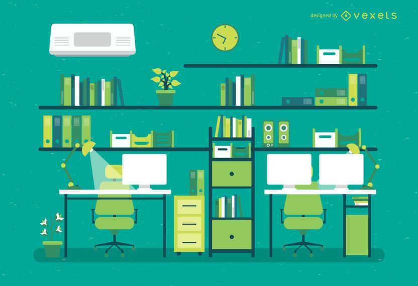 Ilustración de oficina plana con escritorios