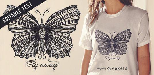 Diseño de camiseta de ilustración de mariposa