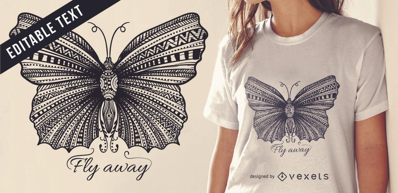 Dise?o de camiseta con ilustraci?n de mariposa