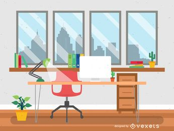 Flat style office desk illustration