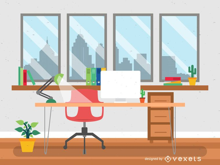 Flat style office desk illustration